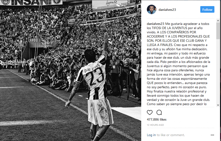 Közösségi oldalán köszönt el az olasz klubtól a brazil szélső.